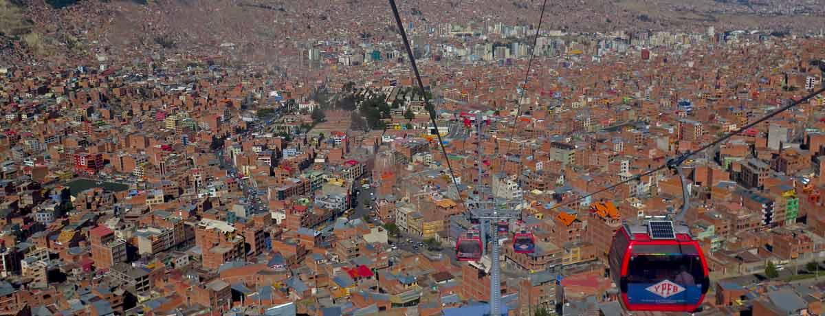 La Paz kabelbaan boven de bruisende stad
