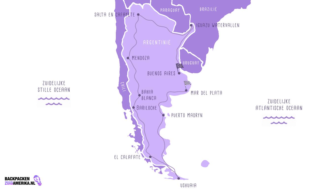 Backpacken Zuid-Amerika kaart van een route door Argentinië