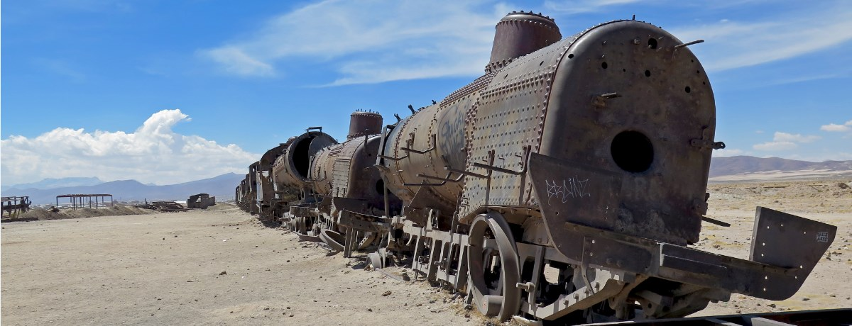 Cementerio de Trenes oftewel de treinenbegraafplaats in Uyuni