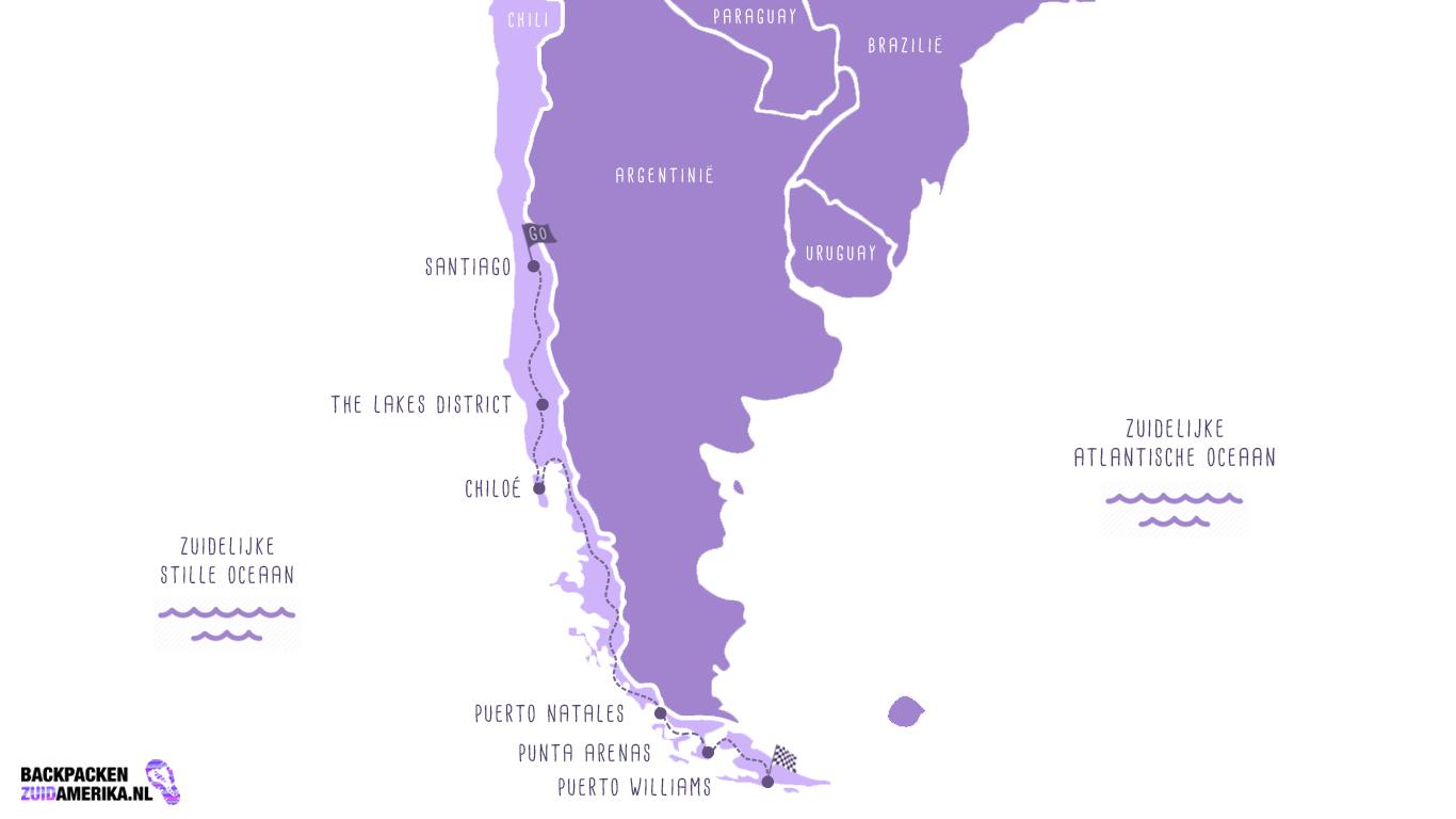 Route om te backpacken door Chili