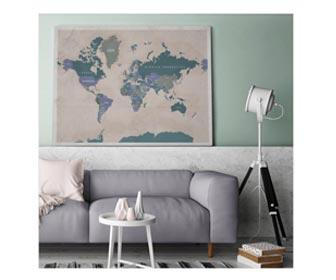 Winactie voor een oud roze wereldkaart op canvas