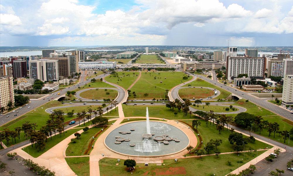 De skyline in de hoofdstad van Brazilië, Brasilia