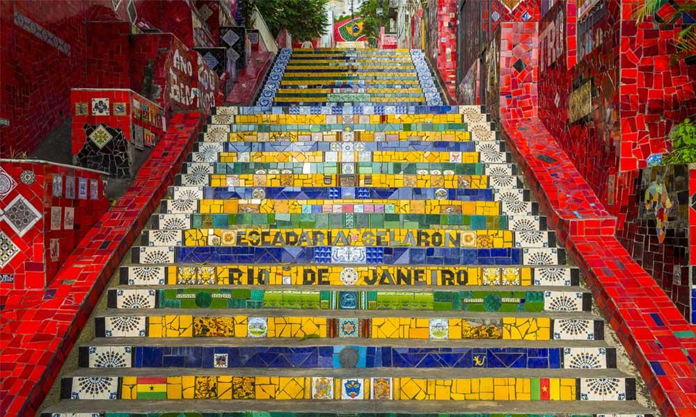De populaire Selaron trappen in Rio de Janeiro, Brazilië